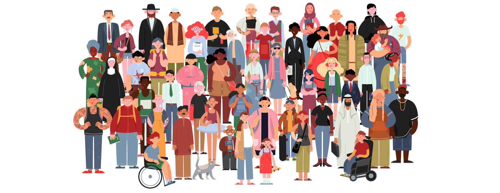 Illustrasjon av mange ulike mennesker